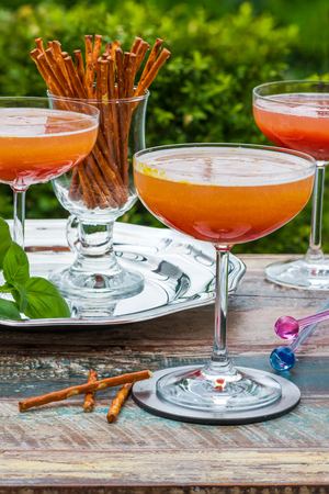 bellini: Spiced plum Bellini cocktail with Prosecco