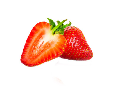 Two strawberries on white background Stock Photo