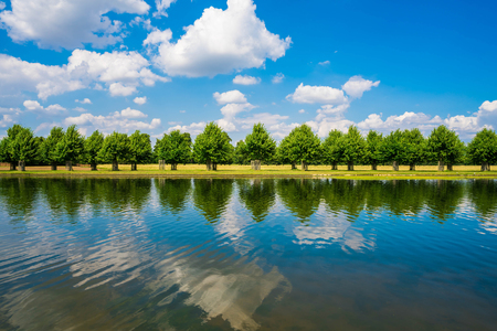 The Long Water Canal in Hampton Court Park in South London, UK Stock Photo