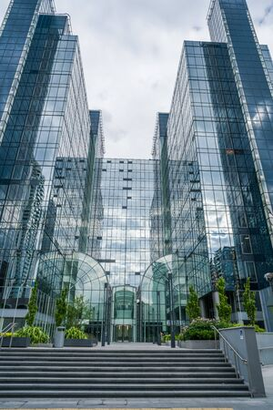 LONDON, UK - JULY 31, 2016: Exchange Tower in the heart of Docklands is a modern office building occupied by businesses such as Barclays PLC, The Financial Ombudsman Service and American Eagle Tankers