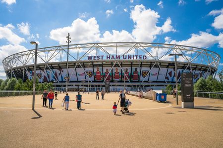 entertainment center: LONDON, UK - AUGUST 7, 2016: View of the Olympic Stadium - the legacy of the Games it was closed for renovation in 2013. Once re-opened in July 2016, it became a home of West Ham United Football Club Editorial