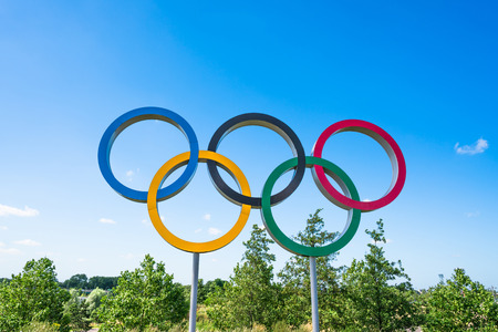 olympic symbol: LONDON, UK - AUGUST 7, 2016: The Olympic Games symbol in the new Queen Elizabeth Olympic Park, a legacy from the games in the large landscaped public recreation area at Stratford, London, UK.
