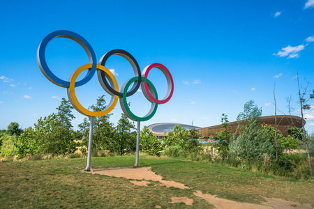 LONDON, UK - AUGUST 7, 2016: The Olympic Games symbol in the new Queen Elizabeth Olympic Park, a legacy from the games in the large landscaped public recreation area at Stratford, London, UK.