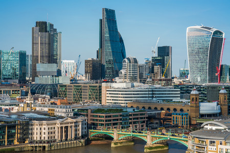lloyds: LONDON UK - AUGUST 30, 2016: Panoramic view of London with iconic modern skyscrapers including Walkie-Talkie, Tower 42, Lloyds bank which form business and banking area in London Editorial