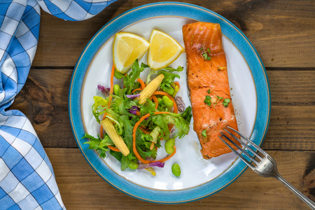 Barbecue maple glazed salmon with fresh salad