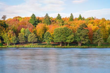 A lake in Virginia Water in Surrey in fall colors, UK