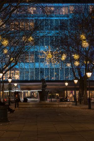 duke: LONDON - NOVEMBER 26, 2016: Christmas Lights Display on Duke of York Square just off the fashionable Kings Road in Chelsea, London, a lovely pedestrianized area just off Sloane Square