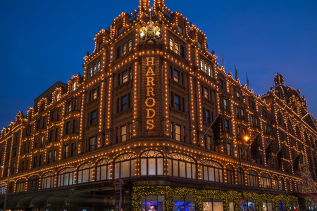 LONDON - NOVEMBER 26, 2016: View of Harrods with christmas decorations. The store, formerly owned by Mohamed Al-Fayed, then sold to Qatar Holdings is one of the most famous luxury stores in London.