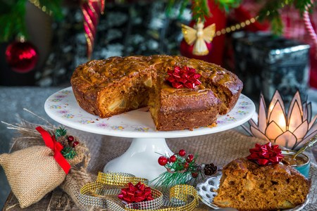 home baked: Home baked caramel apple cake under a Christmas tree