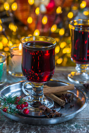Mulled wine with spices for Christmas Stock Photo
