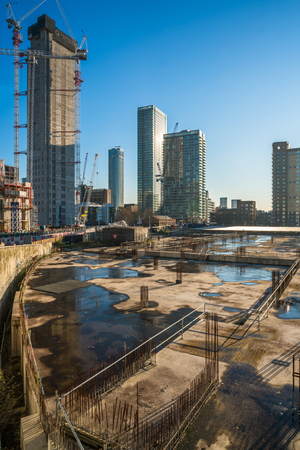 LONDON, UK - JANUARY 21,2017:View of Canary Wharf development. In 2014 Canary Wharf Group was granted planning permission for a major expansion of the estate and first buildings to be occupied by 2019