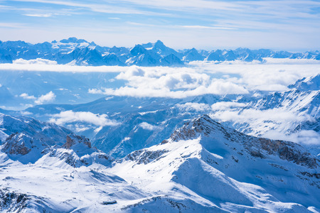 View of Italian Alps from Plateau Rosa in the winter in the Aosta Valley region of northwest Italy.