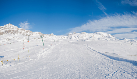 Panoramic view of Italian Alps from Cime Bianche in the winter in the Aosta Valley region of northwest Italy. Stock Photo