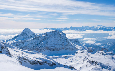 Panoramic view of Italian Alps from Plateau Rosa in the winter in the Aosta Valley region of northwest Italy.