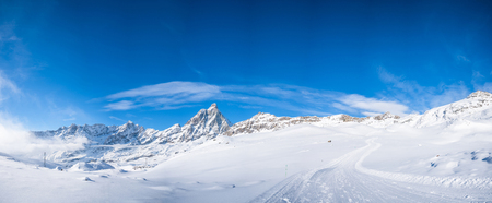 Panoramic view of Italian Alps in the winter in the Aosta Valley region of northwest Italy.