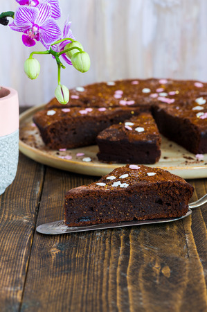 Chocolate brownie cake with prunes dusted with cocoa Stock Photo
