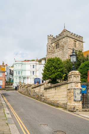 clement: HASTINGS, UK - MAY 13 2017: View of a St Clement church in Hastings, UK.The Church is one of two ancient churches that form the Old Town Parish of Hastings and originates from 1080 AD.