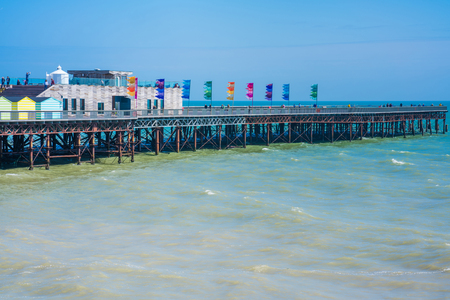 substructure: HASTINGS, UK - MAY 13 2017: View of new Hastings pier which was rebuilt and open to public in 2016 after the old  pier suffered extensive fire damage in October 2010