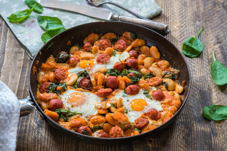 Butter beans, chorizo and spinach baked eggs - top view