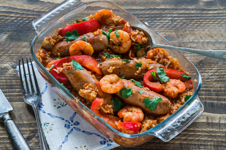 Prawn and sausage gumbo with rice and red pepper Фото со стока