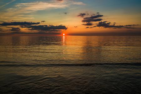 Beautiful sunset on the beach in Hunstanton, Norfolk, UK