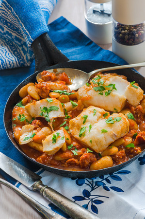 Cod and chorizo stew with broad beans