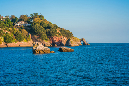 View of London Bridge rock formation in Torquay, South Devon, UK Stock Photo