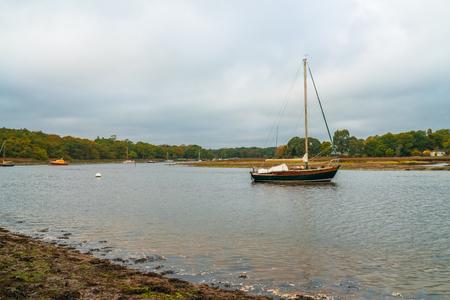 Yachts on the River Beaulieu, Bucklers Hard, Hampshire, UK Stock Photo