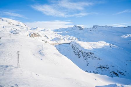 Italian Alps in the winter seen from Plan Maison in Cervinio ski resort, Italy