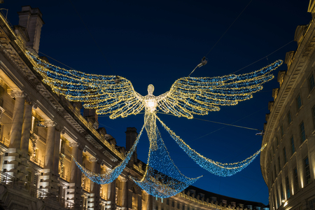 Christmas decorations on Regent Street in Central London, UK