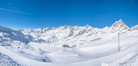 Panoramic view of Italian Alps in the winter from Cime Bianche in Cervinio ski resort, Italy