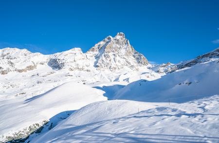 View of Italian Alps and Matterhorn Peak in Cervinio ski resort in the winter, Italy