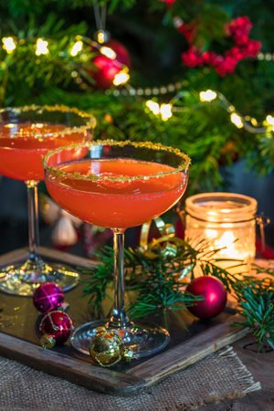 Aperol spritz with grapefruit juice. Festive cocktail idea.
