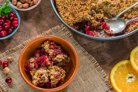 Cranberry, apple  and hazelnut crumble - top view