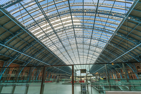 LONDON FEBRUARY 11, 2018: View of interior of St Pancras International station. It is the terminal station for Eurostar continental services from London to Paris and Brussels via the Channel Tunnel.