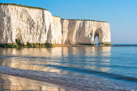 View of cliffs and beach in Kingsgate Bay, Margate, East Kent, UK