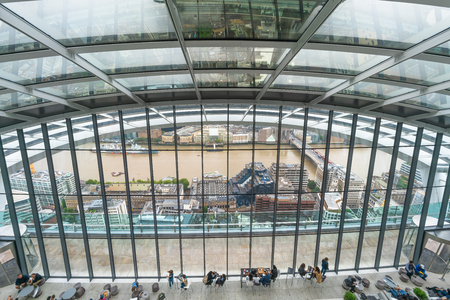 LONDON, UK - AUGUST 16, 2018: The Sky Garden is Europe's highest garden space located on top of 20 Fenchurch Street popular with visitors who come to admire parnoramic view of London