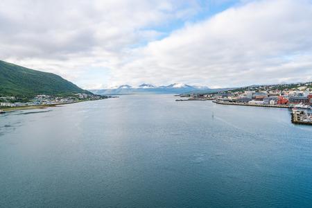 View of Tromsoysundet strait and port of Tromso in Norway