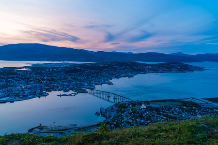 Beautiful sunset over Tromso in Norway - aerial view.