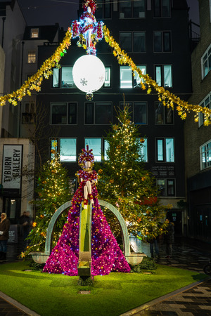 LONDON - DECEMBER 23, 2018: St Christophers Place Piazza and the surrounding streets just off famous Londons Oxford Street are decorated for Christmas.