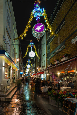 LONDON - DECEMBER 23, 2018: St Christopher's Place Piazza and the surrounding streets just off famous London's Oxford Street are decorated for Christmas.