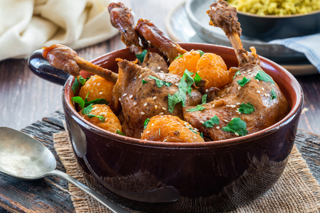 Duck tagine with clementines and citrus couscous Stock Photo