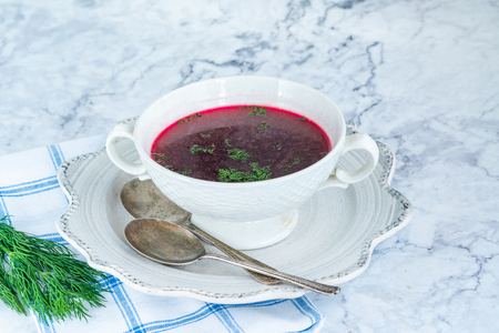 Red borscht - clear beetroot soup common in Eastern Europe and Russia