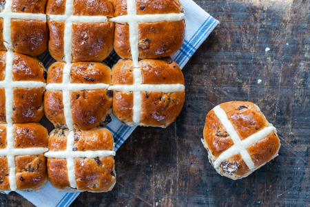 Hot cross buns - traditional Easter food - top view Stock Photo