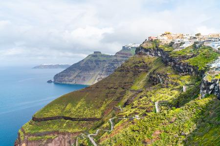 View of volcano caldera and Aegean Sea in Fira, Santorini landscape, Greece