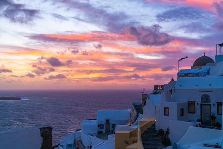 Dramatic sunset in Oia, Santorini, Greece