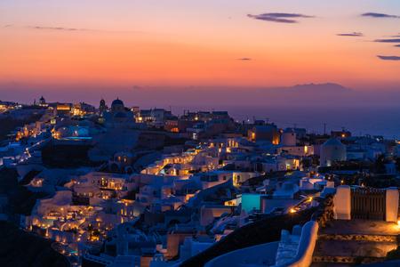 Dramatic sunset in Oia, Santorini, Greece
