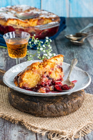Cherry and almond bakewell sponge pudding 写真素材