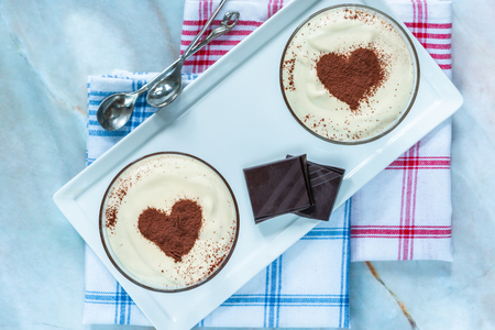 Coffee liqueur and Chocolate cream dessert.