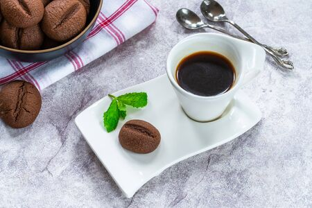 Coffee bean cookies with espresso coffee in a cup - high angle view Stockfoto
